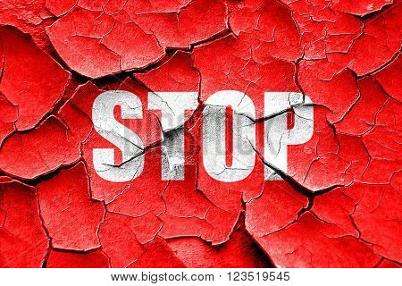 Grunge cracked stop sign background with some soft smooth lines