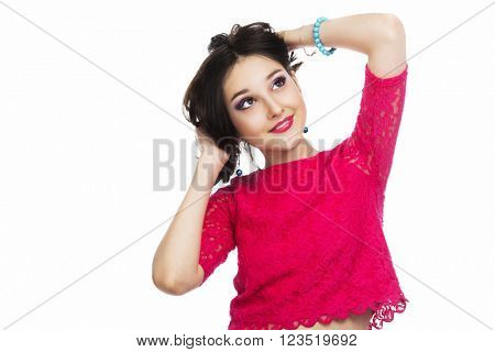pretty teenage girl with makeup isolated against white background