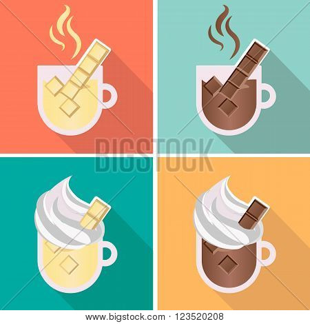 Hot chocolate with whipped cream illustrated vector