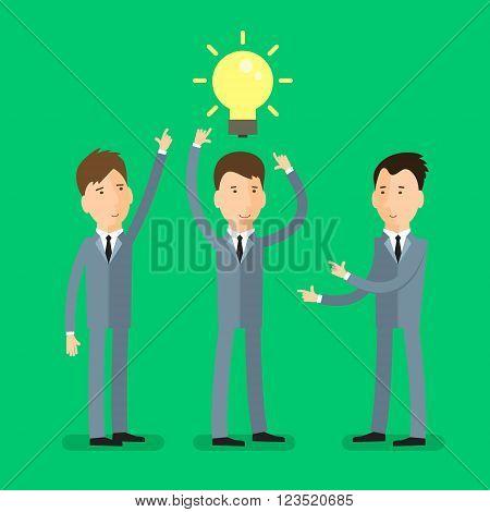 Concept of great idea. Businessman get the idea. Flat design, vector illustration