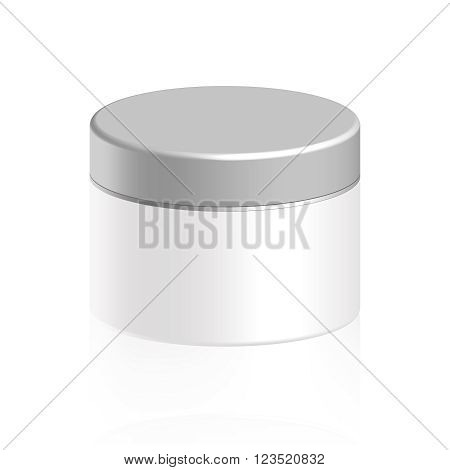 Cosmetic bottle for cream, gel, powder, white color, vector illustration