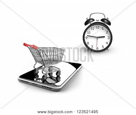 3D illustration alarm clock with small shopping cart on smart phone isolated on white limited time shopping concept.