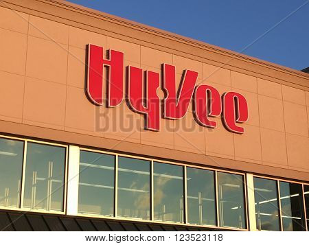 MADISON WI/USA - February 19 2016: The facade of the Hyvee Supermarket on the west side of Madison Wisconsin. Hyvee is an employee-owned chain of 240 supermarkets headquartered in Des Moines Iowa.