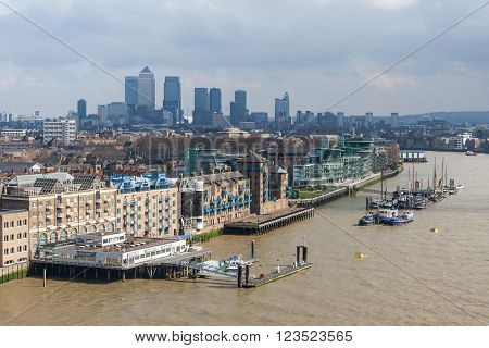 London, Uk - Circa March 2012: View Of St Katharine's And Wapping, Canary Wharf In  London