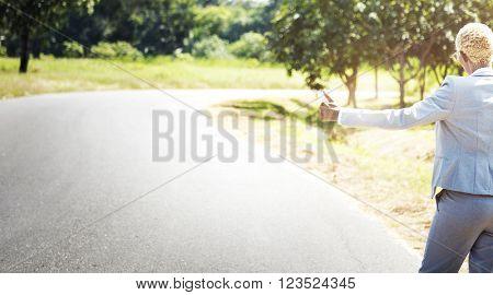 Hitchhiker Aid Asphga Businesswoman Journey Concept
