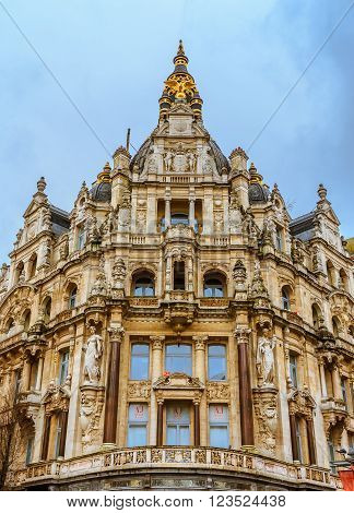 Antwerp Belgium - January 18th 2015: Gothic building in Antwerp Belgium