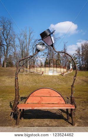 GRODNO BELARUS - MART 27: Bench lovers. Attraction in the Park named Gilibert Mart 27 2016 in Grodno Belarus