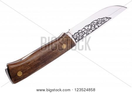 Hunting knife with wooden haft isolated on the white background