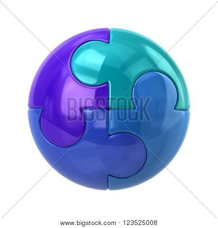 Blue spherical puzzle icon isolated on white background