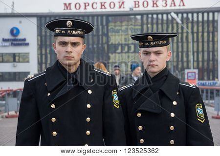 Vladivostok, Russia - Circa October 2006: Russian Navy Cadets, Trainees In Uniform In Vladivostok,