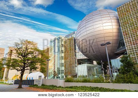 NAGOYA JAPAN - NOVEMBER 21 2015: Nagoya City Science Museum houses the largest planetarium in the world it portrays life sciences and general science with a variety of hands-on exhibits
