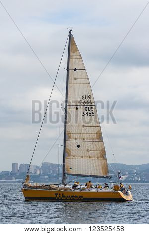 Vladivostok, Russia - Circa August 2012: Regatta For Peter The Great Gulf Cup - Sailed Boat Race In