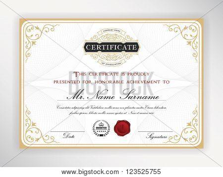 Elegant certificate template design with emblem vintage border. A4 size + Bleed