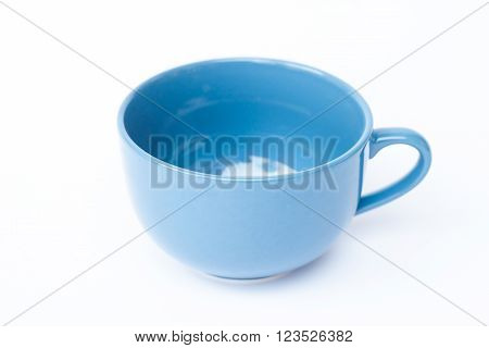 Blue ceramic bowl on white background, stock photo