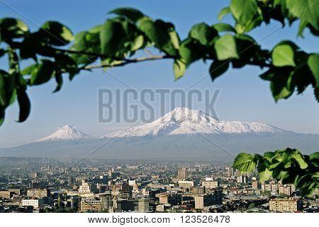 Mountain Ararat and city Yerevan, Transcaucasia, Armenia.