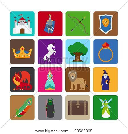 Fairy tale flat icons. Fairytale game colorful symbols. Vector illustration