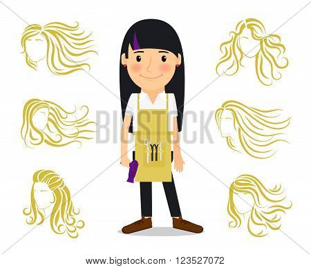 Hairdresser and female hairstyles. Colored image of hairdresser for ladies beauty salon. Vector illustration