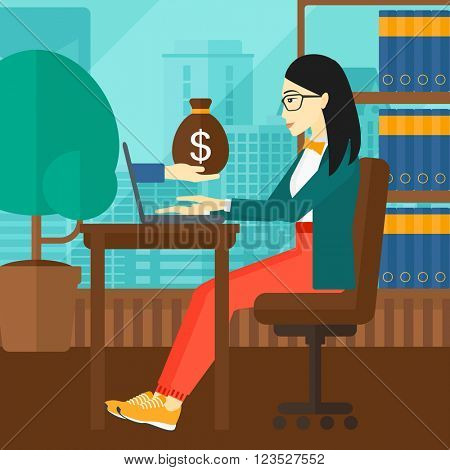 Business woman working in office.