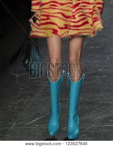 New York City, USA - February 15, 2016: Alice Metza walks the runway during the Jeremy Scott Women's show as a part of Fall 2016 New York Fashion Week