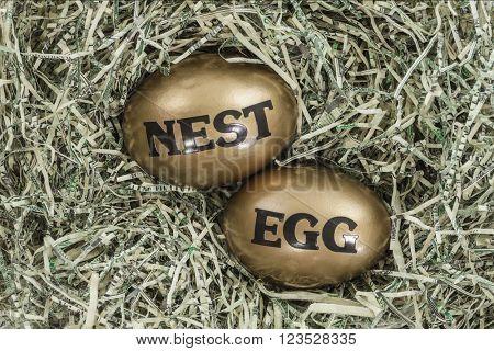 Golden nest eggs in a bed of shredded US dollars.