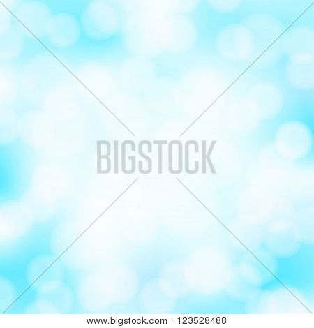 Abstract aqua blue bokeh simple background with blurred light effects. Glowing light in blue sky abstract horizontal backdrop for Your design. vector illustration