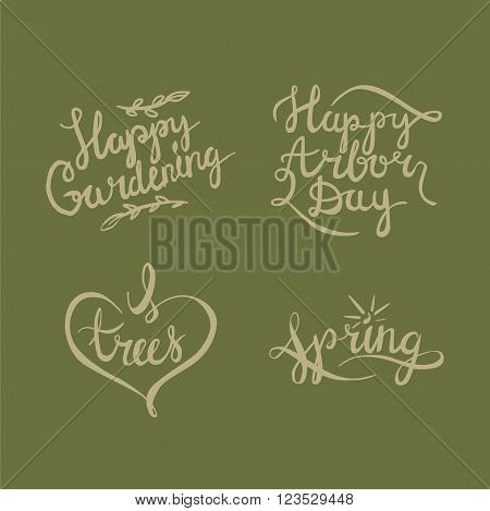 Arbor day calligraphy handlettering logotypes on green background