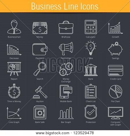 25 Business finance e-commerce line icons, vector eps10 illustration