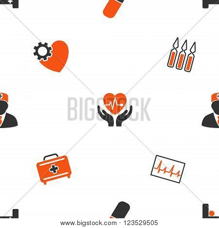 Cardiology vector repeatable pattern. Style is flat orange and gray icon symbols on a white background.
