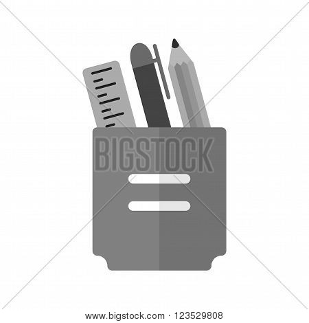Stationery, holder, pencil icon vector image. Can also be used for schooling. Suitable for use on web apps, mobile apps and print media.
