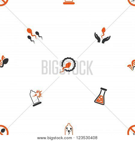 Sperm vector repeatable pattern. Style is flat orange and gray icon symbols on a white background.