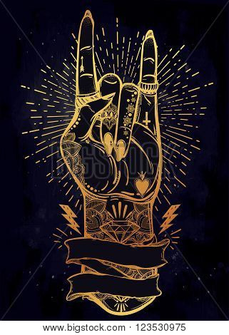 Hand drawn romantic flesh art rock festival poster with frame for your text. Rock and Roll hand sign. Vector illustration isolated. Tattoo design, music, occult symbol for your use.