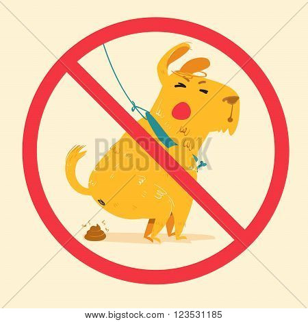 sign prohibiting dog walking. cartoon vector illustration of cute dog dumped poop.
