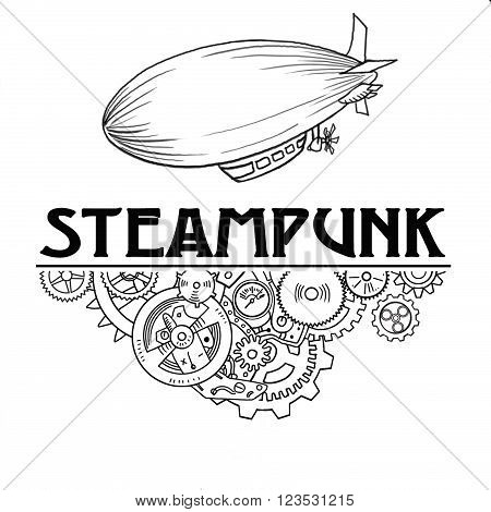 Steampunk label with industrial machines gears chains and technical elements,  hand drawn illustration, whith place for text