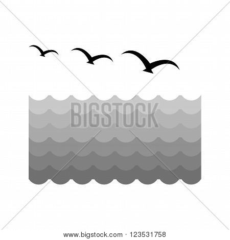 Birds, water, flock icon vector image. Can also be used for sea. Suitable for use on web apps, mobile apps and print media.