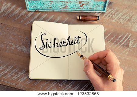 """Handwritten Text In German """"sicherheit """"  - Translation : Safety"""