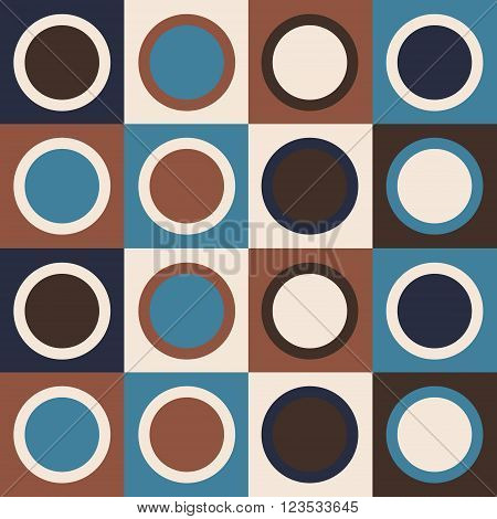 Retro abstract geometric pattern with circles in brown and teal colors. Vector seamless background.