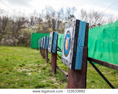 Targets aligned at a archery shooting range outdoor