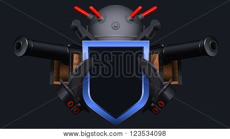 3D illustration of the coat of arms with naval mine, anchors, shield and ship cannons