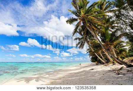 Beautiful tropical beach with palm trees, white sand, turquoise ocean water and blue sky at Cook Islands, South Pacific