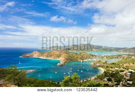 View of Antigua island landscape from above