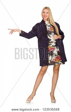 Model in purple cardigan isolated on white