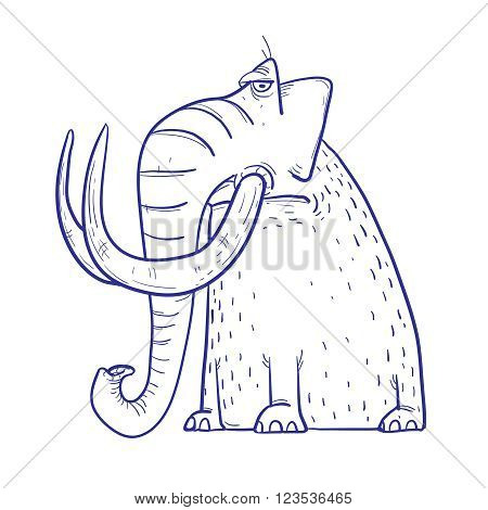 Funny Cartoon brown Mammoth with big tusks