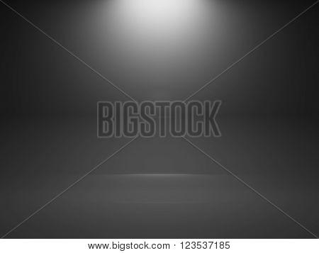 Empty Dark Interior Background With Spot, 3D