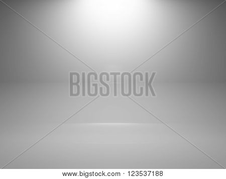 Empty White Interior Background With Spot, 3D