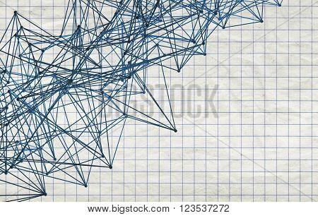 3D  Lattice Mesh Structure Over Squared Paper