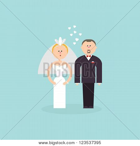 Bride and Groom with love flat vector figures illustration. Classic wedding couple. Traditional bride, groom cartoon for wedding invitation design. Couple getting married symbol for invites, cakes and  wedding design.
