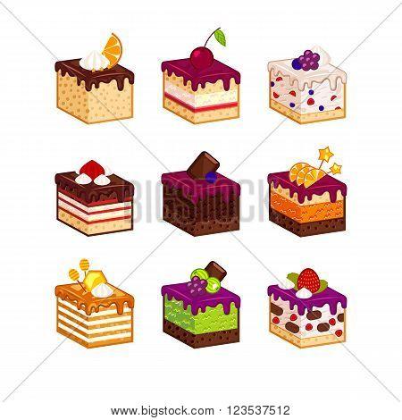 Flat design cake piece icons with flavour decor. Chocolate, berries, tiramisu, meringue, honey cake, sour cream, diet pie slices