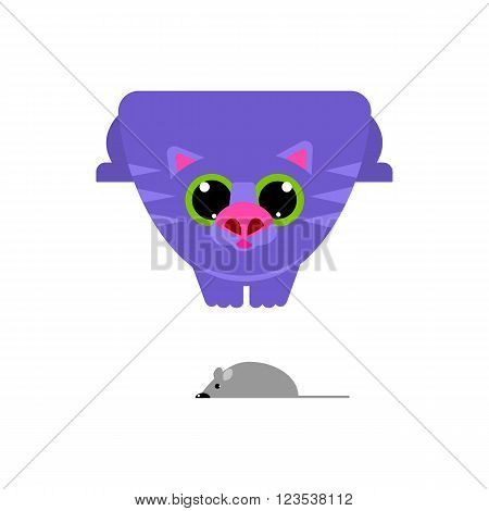 Cute flat cartoon cat looking at mouse. Big mustache whisker. Funny characters. Flat design. White background. Isolated. Vector illustration