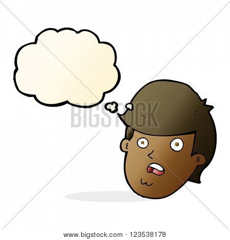 cartoon man with big chin with thought bubble