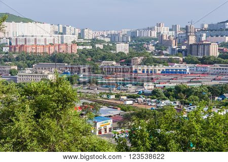 Vladivostok, Russia - Circa July 2015: Panorama Of Railroads And Residential Apartment Buildings, Vl